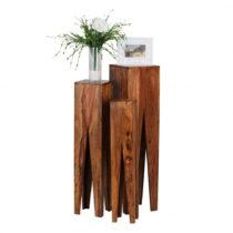 Sada 3 odkladacích stolíkov z masívneho sheeshamového dreva Skyp...