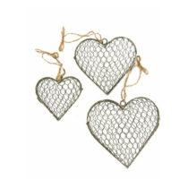 Sada 3 dekorácií Antic Line Hearts