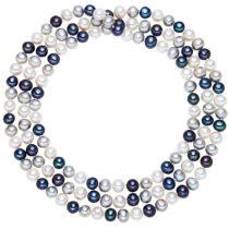 Bielo-modrý perlový náhrdelník Chakra Pearls, 90 cm