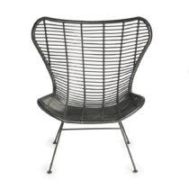 Čierna stolička s výpletom z prútia Simla Wicker