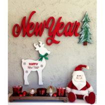 Vianočná nástenná dekorácia New Year, 70 x 2 x 30 cm