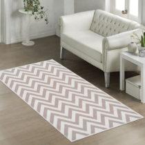Odolný bavlnený koberec Vitaus Zikzak Bej, 80×150&...