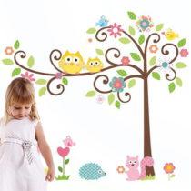 Nástenná detská samolepka Ambiance Tree and Owl