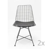 Sada 2 čiernych oceľových jedálenských stoli&#x10...