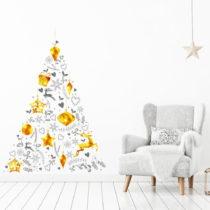 Vianočná samolepka v tvare stromčeka Ambiance, 85 x 60 cm