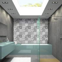 Sada 9 nástenných samolepiek Ambiance Wall Decal Tiles Azulejos Shades of Gray Sot...