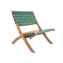 Zelená stolička z akáciového dreva s nylonovým po&...