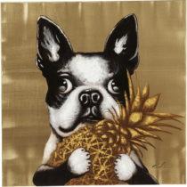 Obraz Kare Design Dog with Pineapple, 80 × 80 cm