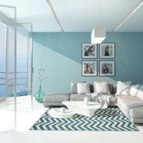 Svetlomodrý vysokoodolný koberec vhodný do exteriéru Floorita Wa...