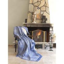 Modrá bavlnená deka mismo Linen, 170×220 cm