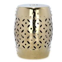 Odkladací stolík vhodný do exteriéru v zlatej farbe Safavieh Cyp...