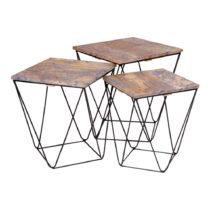 Sada 3 odkladacích stolíkov so sivou doskou z mangového dreva House Nordi...
