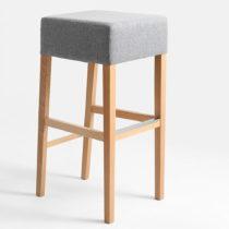 Svetlosivá barová stolička s prírodnými nohami Custom ...