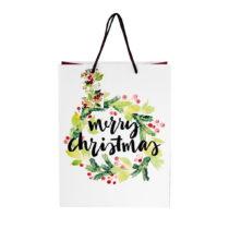Biela darčeková taška Butlers merry christmas, výška...