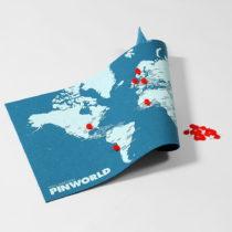 Modrá nástenná mapa sveta Palomar Pin World Mini, 77×&...