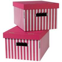 Sada 2 ružových úložných škatú&...