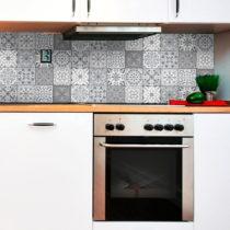 Sada 12 nástenných samolepiek Ambiance Wall Decal Tiles Grey and White Torino, 15&...