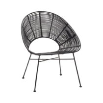 Čierna ratanová stolička Hübsch Aslog