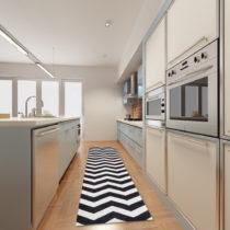 Vysokoodolný kuchynský koberec Webtappeti Optical Black White, 130&#...