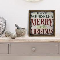 Obraz v ráme z borovicového dreva Little Christmas, 34 x 34 cm