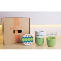 Sada 2 hrnčekov na latté s podnosmi a zeleným silikónov&#xF...