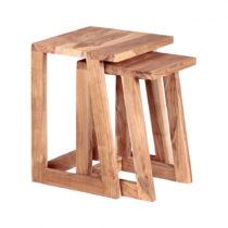 Sada 2 odkladacích stolíkov z masívneho akáciového drev...