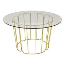 Konferenčný stolík so sklenenou doskou a zlatým podno&#x17E...