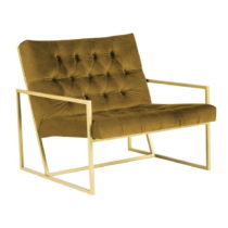 Horčicovožlté kreslo s konštrukciou v zlatej farbe Mazzini So...