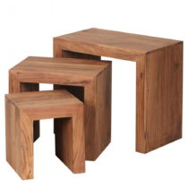 Sada 3 odkladacích stolíkov z masívneho akáciového drev...