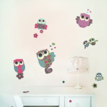 Samolepka na viac použití Owls, 50x40 cm
