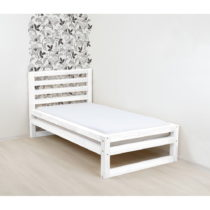 Biela drevená jednolôžková posteľ Benlemi DeLuxe, 200...