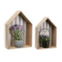 Sada 2 drevených nástenných políc na kvetináč...