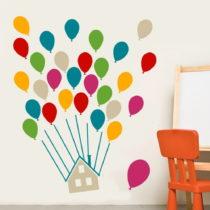 Sada nástenných samolepiek House With Balloons Multi