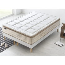 Biely matrac s krémovým okrajom Bobochic Paris Cashmere, 200 x 200 cm