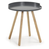 Tmavosivý odkladací stolík s drevenou podnožou La Forma Bruk