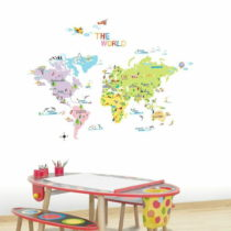 Sada nástenných samolepiek Ambiance World Map for Children