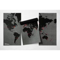 Čierna nástenná mapa sveta Palomar Pin World XL, 198×...