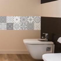 Sada 12 nástenných samolepiek Ambiance Wall Decal Tiles Grey and White Torino, 20&...