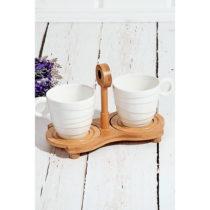 Bambusový podnos s 2 porcelánovými šálky Drink, 25 &am...