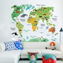 Nástenná detská samolepka Ambiance World Map, 73 × 95 cm
