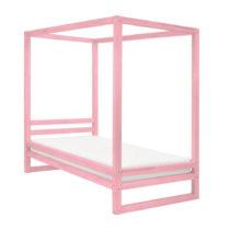 Ružová drevená jednolôžková posteľ...