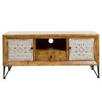 Televízny stolík z jedľového dreva a železa Santiago ...