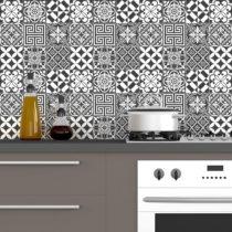 Sada 60 nástenných samolepiek Ambiance Traditional Tiles Shade of Gray, 10 &#x...