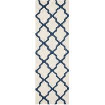 Bielo-modrý vlnený koberec Safavieh Ava Navy, 76×243 ...