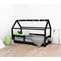 Čierna detská posteľ s bočnicami zo smrekového dreva...