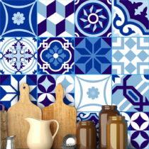 Sada 16 nástenných samolepiek Ambiance Wall Stickers Tiles Azulejos Shade of Blue,...