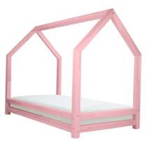 Ružová detská posteľ z lakovaného smrekového...