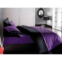 Čierno-fialové obliečky z bavlneného saténu s plachto...