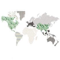 Nástenná samolepka Dekornik Brown Map, 180 x 107 cm