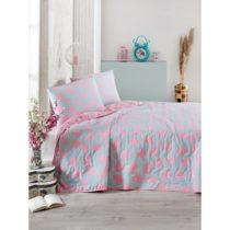 Modro-ružová prikrývka cez posteľ na dvojlô&#x17E...